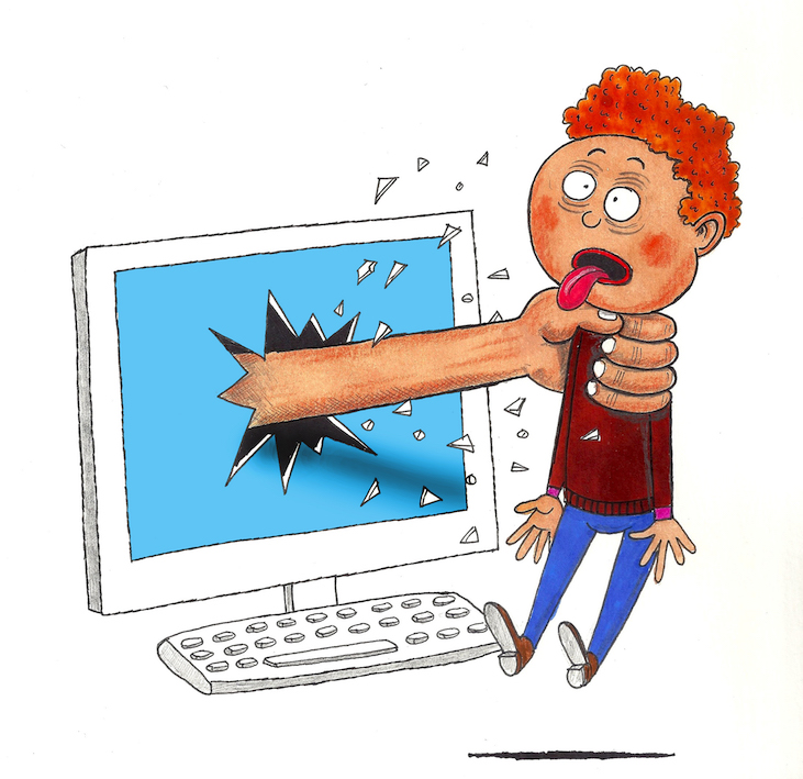 Illustratie Bart Van Tieghem tegen cyberpesten