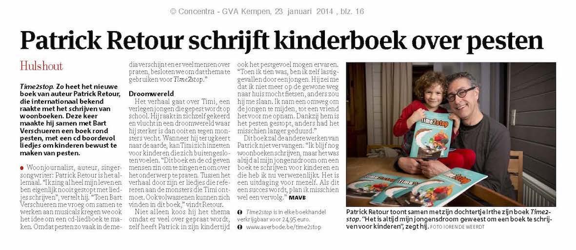 Boek tegen pesten Time2Stop in Gazet van Antwerpen
